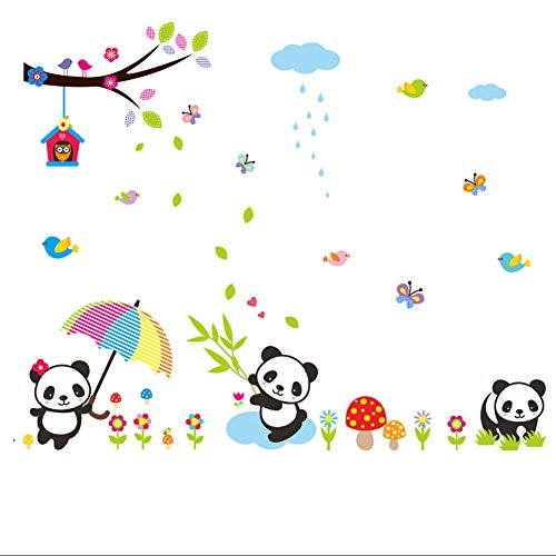 Lovely Panda Birds flowers and Bamboo Wall Stickers Removable Wall Vinly Decal Decor for Girls and Boys Nursery Room Children's Bedroom