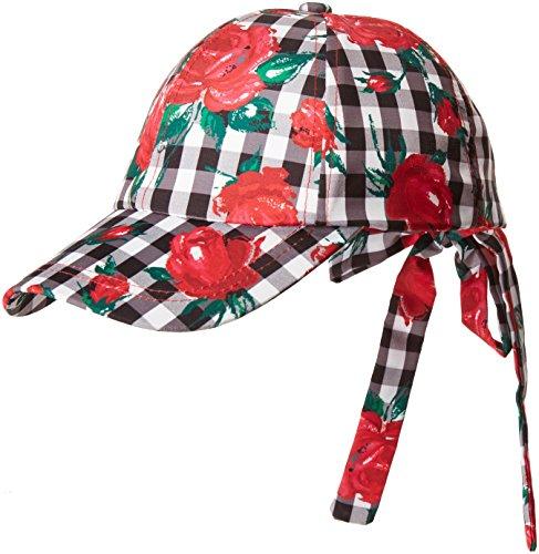 Betsey Johnson Women's Gingham Rose Baseball Hat, Black, one Size ()