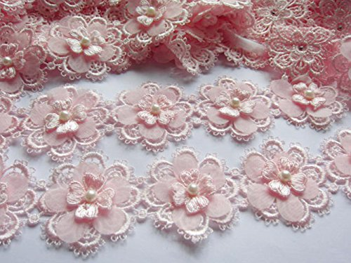"""YYCRAFT Pack Of 2y Flower Lace Edge 2"""" Trim Ribbon Wedding Applique DIY Sewing Crafts-Baby Pink"""