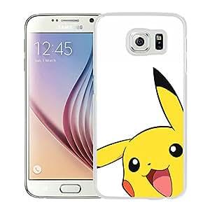 Samsung Galaxy S6 Pokemon Popular Cute and Funny Pikachu 03 White Screen Cover Case Unique and Fashion Design