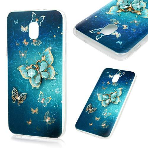 (Galaxy J3V J3 V 3rd Gen Case, Clear TPU Case Kawaii Colorful Painting Bling Shiny Glitter Diamonds Soft Flexible Shockproof TPU Shell Slim Lightweight Bumper Silicone Cover for Samsung Galaxy J3 2018)