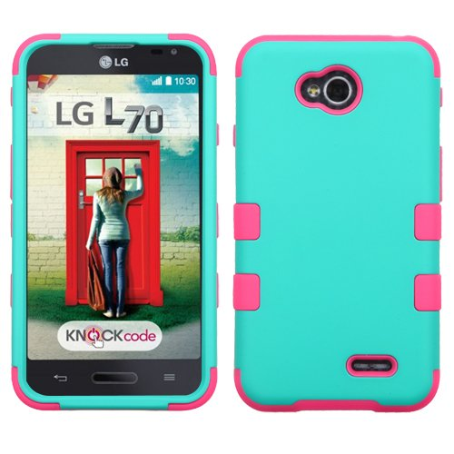 Asmyna Rubberized TUFF Hybrid Cover for LG Optimus Exceed 2/L70 - Retail Packaging - Electric Pink/Teal (Lg L70 Optimus Phone Case)