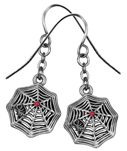 Silver Color Pewter Spider Web Earrings with Red -