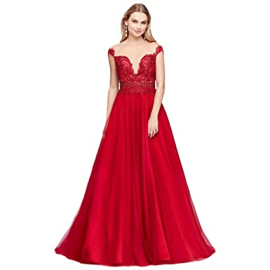 David\'s Bridal Illusion Bodice Lace and Tulle Prom Dress Style ...