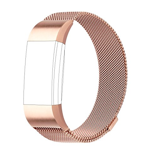 POY For Fitbit Charge 2 Bands, Milanese Loop Stainless Steel Bracelet Smart Watch Strap with Unique Magnet Lock for Fitbit Charge 2 Replacement Wristbands Large - Lock Magnetic Gold