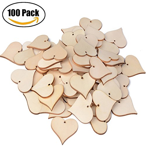 Blank Wooden Love Heart Tags, ASTUBIA Wood Name Tags Blessing Gift Tags Slices with Hole Art Craft for Christmas, Birthday Party, Wedding (Love Heart Tags)