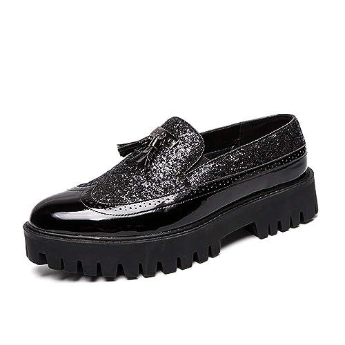 HILOTU Mocasines Oxford Zapatos de los Hombres señalaron la Tendencia con el Empalme de Charol Grueso Inferior Borla Formal Zapatos de Vestir de Fiesta: ...