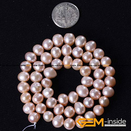 "Calvas Pearl: 7-8mm Genuine Cultured Pearl Beads DIY Beads Loose Beads for Bracelet Or Necklace Making Strand 15"" Wholesale ! - (Color: 7 to 8mm Pink)"