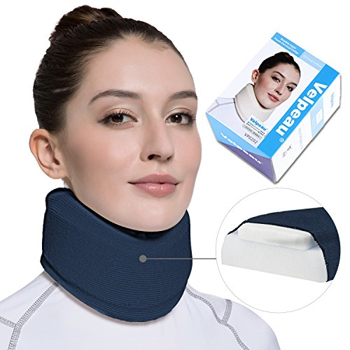 Neck Brace - Soft Cervical Collar - Double Layer Composite Moderate Support for Vertebrae for Neck Pain - Can Be Used During Sleeping, Travel, Airplane, Working (Blue,Large) - Collar Brace