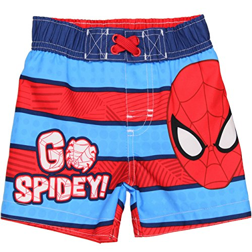 Spider-Man Boys Swim Trunks Swimwear (Baby/Toddler) (12M, Spidey Blue/Red)