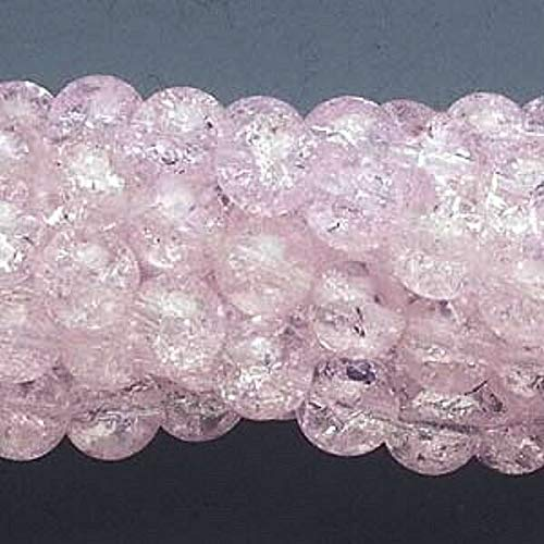 Wholesale 10 Strands Pink Crackle Glass 7-8Mm Round Beads