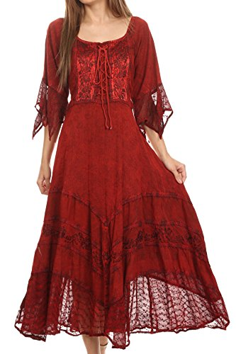 (Sakkas 15224 - Bexley Scoop Neck Bell Sleeve Bohemian Gypsy Embroidered Corset Dress - Red -)