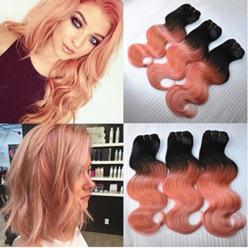 Ruma Hair 3/4 Bundles Lot Rose Gold Dark Roots Ombre Hair Extensions Two Tone Color 1B/Pink Ombre Body Wave Wavy Brazilian Unprocessed Virgin Human Hair Weaving Wefts 10-30'' (22''24''26'')