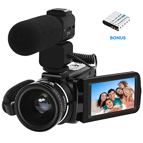 Video Camera LAKASARA Camcorder Full HD 1080P 30FPS WiFi Camera Camcorders with External Microphone and Wide Angle (Hot Shoe Connector)