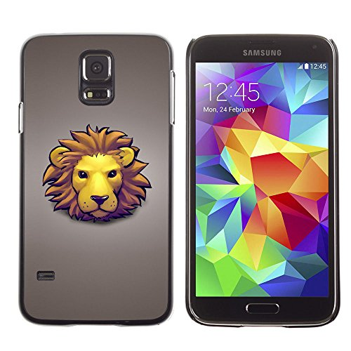 amsung Galaxy S5 lion face mane yellow big cat art drawing cartoon / Slim Black Plastic Case Cover Shell Armor