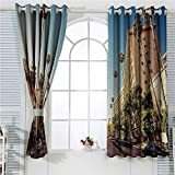 hengshu Urban Backdrop Curtain for Bedroom Decor A Street in Beverly Hills California Palm Trees Houses Famous City Photo Soundproof Privacy Window Curtains W96 x L107 Inch Light Blue Peach Green