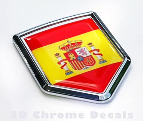 Car chrome decals cbshd201 spain flag spanish emblem chrome car decal sticker