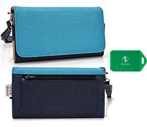 AT&T GoPhone Avail 2 Prepaid Smartphone Universal Ladies wristlet wallet in [TWO-TONED]BABY BLUE/ NAVY Plus bonus Neviss luggage tag