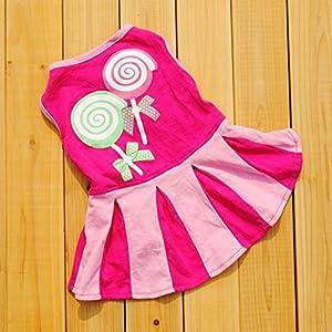 Sumen Candy Pattern Puppy Dog Doggie Apparel Girls Skirt Dress (Hot Pink, L)