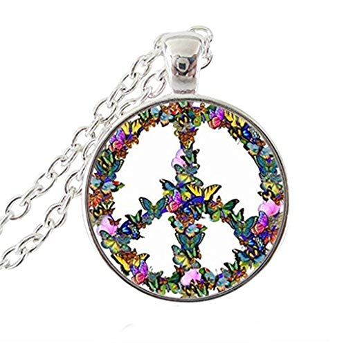 Butterfly Peace Sign Photo Necklace Love Hippie Pendant Animal Jewelry Glass Cabochon Choker Necklace