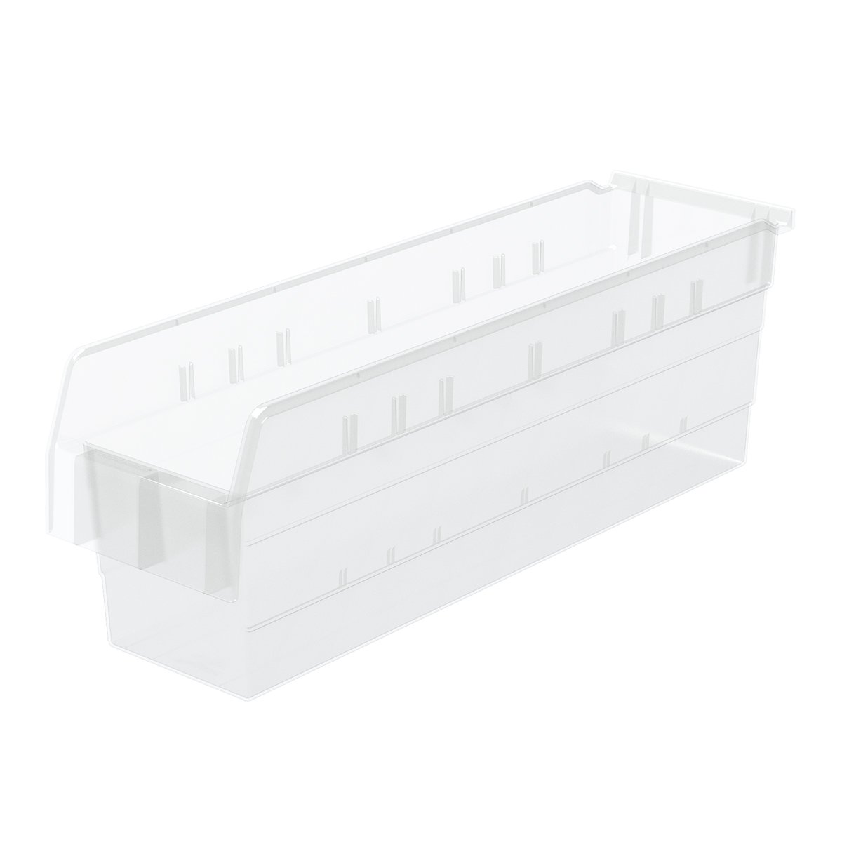 Akro-Mils 30864 ShelfMax 8 Plastic Nesting Shelf Bin Box, 24-Inch x 6-Inch x 8-Inch, Clear, 10-Pack