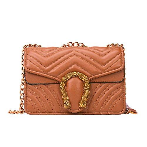 Casual Fashion Lady Shoulder Bags Shoulder Bag Backpack Schoolbag Brown Chains