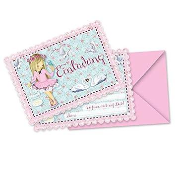 8 Einladungskarten Und Umschläge * BALLETT * Für Kindergeburtstag Und  Mottoparty // Einladungen Umschläge Tanzen