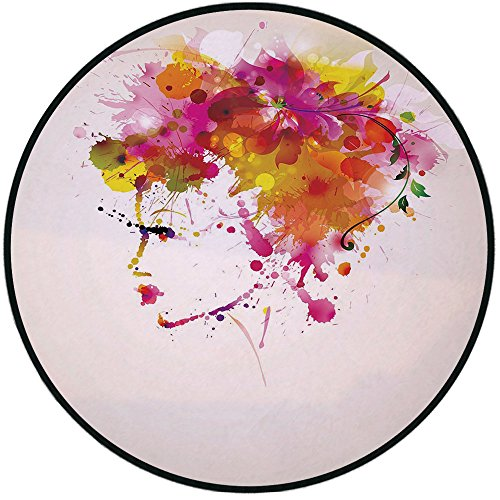 Rug 13800 (Printing Round Rug,Abstract,Watercolor Portrait of a Woman with Artsy Floral Hairstyle Paint Splatters Decorative Mat Non-Slip Soft Entrance Mat Door Floor Rug Area Rug For Chair Living Room,Orange Pi)