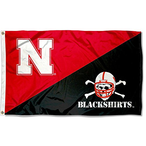College Flags and Banners Co. Nebraska Cornhuskers Blackshirts Logo Flag (Nebraska Athletics Cornhuskers)