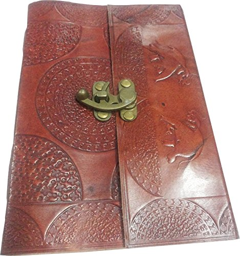Handmade Elephant and Horse Embossed Leather Journal, Notebook, Blank Pages, Brown Color, (Horse Clasp)