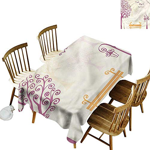 - one1love Tablecloth Nature Park Bench Pastel Color Table Cover for Dining 54