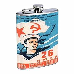 Russia Sailor 1960s Communist 8OZ Stainless Steel Flask D-273