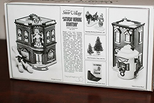 Department 56 Snow Village ''Saturday Morning Downtown'' Start a tradition Kringle's Toy Shop, Nikki's Cocoa shop 8 piece set by Department 56 (Image #2)