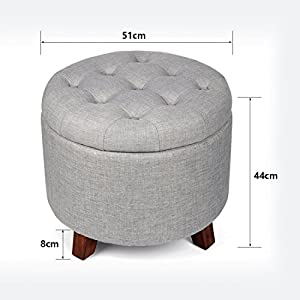 Generic Round Storage Footrest Ottoman with Removable Lid Beige