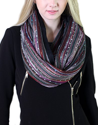 Women's Festival Bliss Shimmer Infinity Scarf, Boho Loop Shawl (Black Diamond)