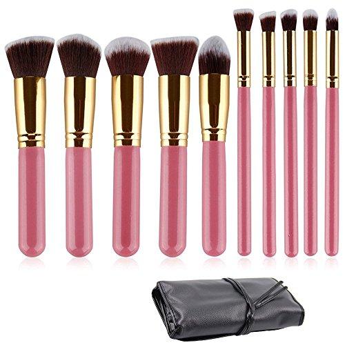 Kabuki Brush Case - Ammiy 10PCS Professional Premium Kabuki Makeup Brush Set Pink Golden Kit with Case