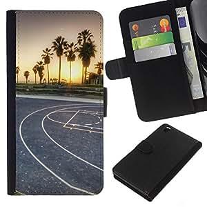 YiPhone /// Tirón de la caja Cartera de cuero con ranuras para tarjetas - LA Miami Street Basketball - HTC DESIRE 816