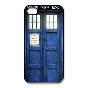 K9Q Police Box Hard Back Case Patterned Cover Back Skin TPU Phone case cover for iphone4 4s black