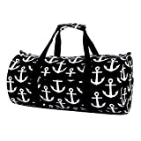 Top Large Black White Anchors Beach Boat Microfiber Overnighter Weekender Duffle Gym Bag Inexpensive Unique Summer Day Camping Camper Supplies Gear Stuff Accessories Gift Idea Uncle Men Boy Girl Kid