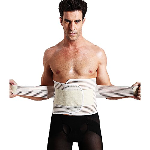 Laweisi Men's Waist Trimmer Girdle Trainer Sweat Workout Beer Belly Back Lumbar Support Large Skin