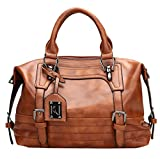 Juilletru Brown Women Tote Bags PU Leather Handbags Top Handle Vintage Purse Crossbody Shoulder Bag