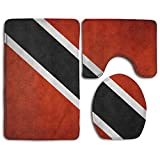 Fallake Baby Bath Mat, 3 Piece Bathroom Rug Set Flag Of Trinidad And Tobago Vintage, Skidproof Flannel Contour Rugs Antibacterial Cover Mat For Men Women Kids, Bathroom Rugs, Bathroom Accessories