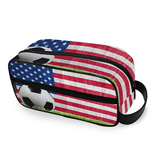VOUSME Toiletry Bag American Flag Sport Football Portable Travel Toiletry Organizer with Zipper Dopp Kit Multifunction…