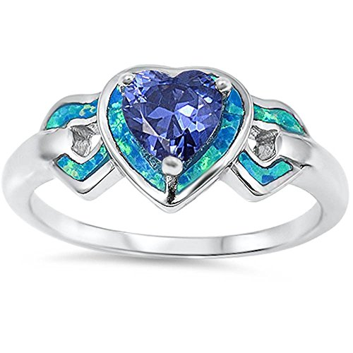 Lab Created Blue Opal & Simulated Tanzanite Heart .925 Sterling Silver Ring Size 8
