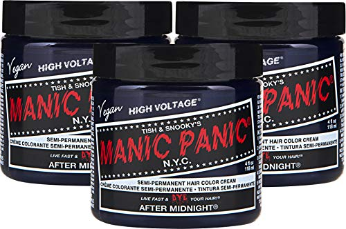 Manic Panic After Midnight Blue Hair Color Cream (3-Pack) Classic High Voltage, Semi-Permanent Hair Dye, Vivid Blue Shad For Dark, Light Hair - Vegan, PPD & Ammonia-Free, Ready-to-Use, No-Mix Coloring