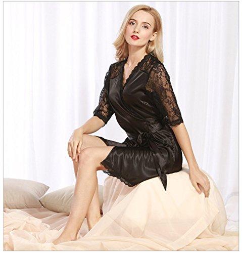 Vestaglia Notte Corta Raso pigiami Camicia Kimono V Cintura Nero donna Donna Pigiama Scollo seta con Elegante da in qXn61R