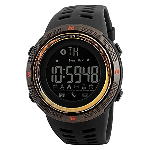 SKMEI 1250 Smart Watch Pedometer Calories Clocks Waterproof Digital Wristwatches Outdoor Sports Watches (Brown (Real Gold G Shock Watches For Men)
