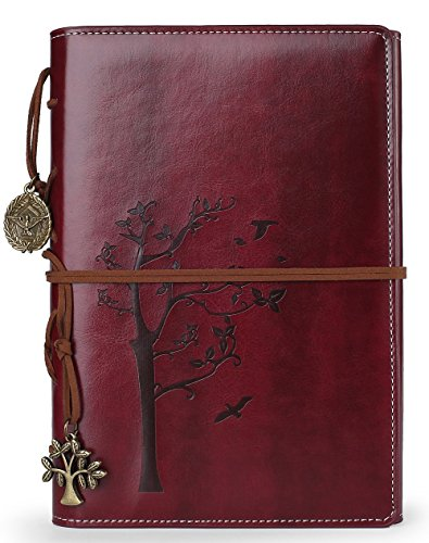 Vintage Artificial Leather Writing Journal,refillable Diary Notebook,for Men/Women/Girls/Travelers/Bloggers,Cook Book,Classic Daily use Gifts by Valery (A5(8.46x5.71), TreeReddishBrown-Lined)