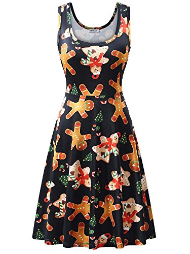 - HUHOT Christmas Dresses Women Xmas Gift Printed A Line Flared Party Tank Dress (X-Large, Gingerbread)