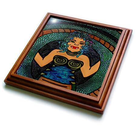 (3dRose BlakCircleGirl - Halloween - Medusa - The mythological medusa with a snake body and snakey hair - 8x8 Trivet with 6x6 ceramic tile)